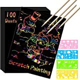 Scratch Paper Art Set, 100 Sheets Rainbow Magic Scratch Art Black Scratch it Off Paper Crafts Notes Drawing Boards Sheet with