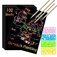 Scratch Paper Art Set, 100 Sheets Rainbow Magic Scratch Art Black Scratch it Off Paper Crafts Notes Drawing Boards Sheet with 10 Wooden Stylus and 4 Stencils for Kids DIY Christmas Birthday Gift Card