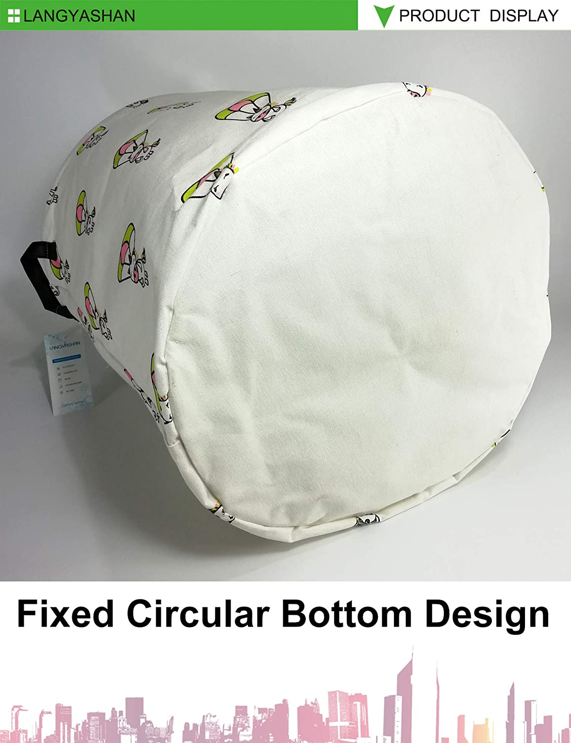 Bunny Bedroom Clothes,Baby Nursery LANGYASHAN Storage Bin,Canvas Fabric Collapsible Organizer Basket for Laundry Hamper,Toy Bins,Gift Baskets