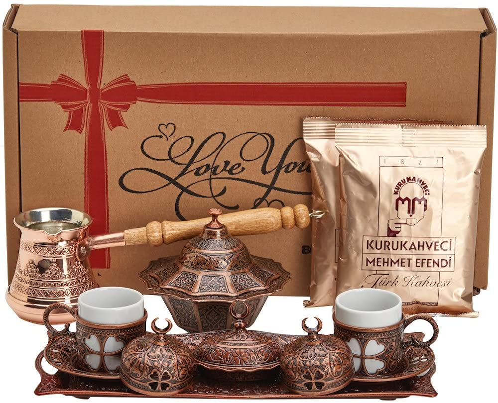BOSPHORUS 16 Pieces Turkish Greek Arabic Coffee Making Serving Gift Set with Copper Pot Coffee Maker, Cups Saucers, Tray