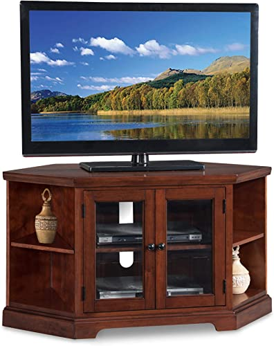 Leick Riley Holliday 46 Corner TV Stand in Brown Cherry