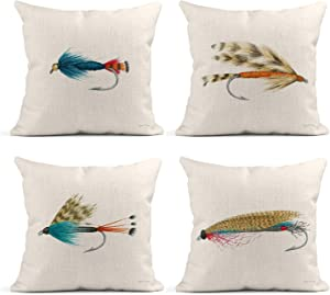 Tarolo Set of 4 Linen Throw Pillow Cover Case Gone Fishin Fish Hook Decorative Pillow Cases Covers Home Decor Square 18 x 18 Inches Pillowcases
