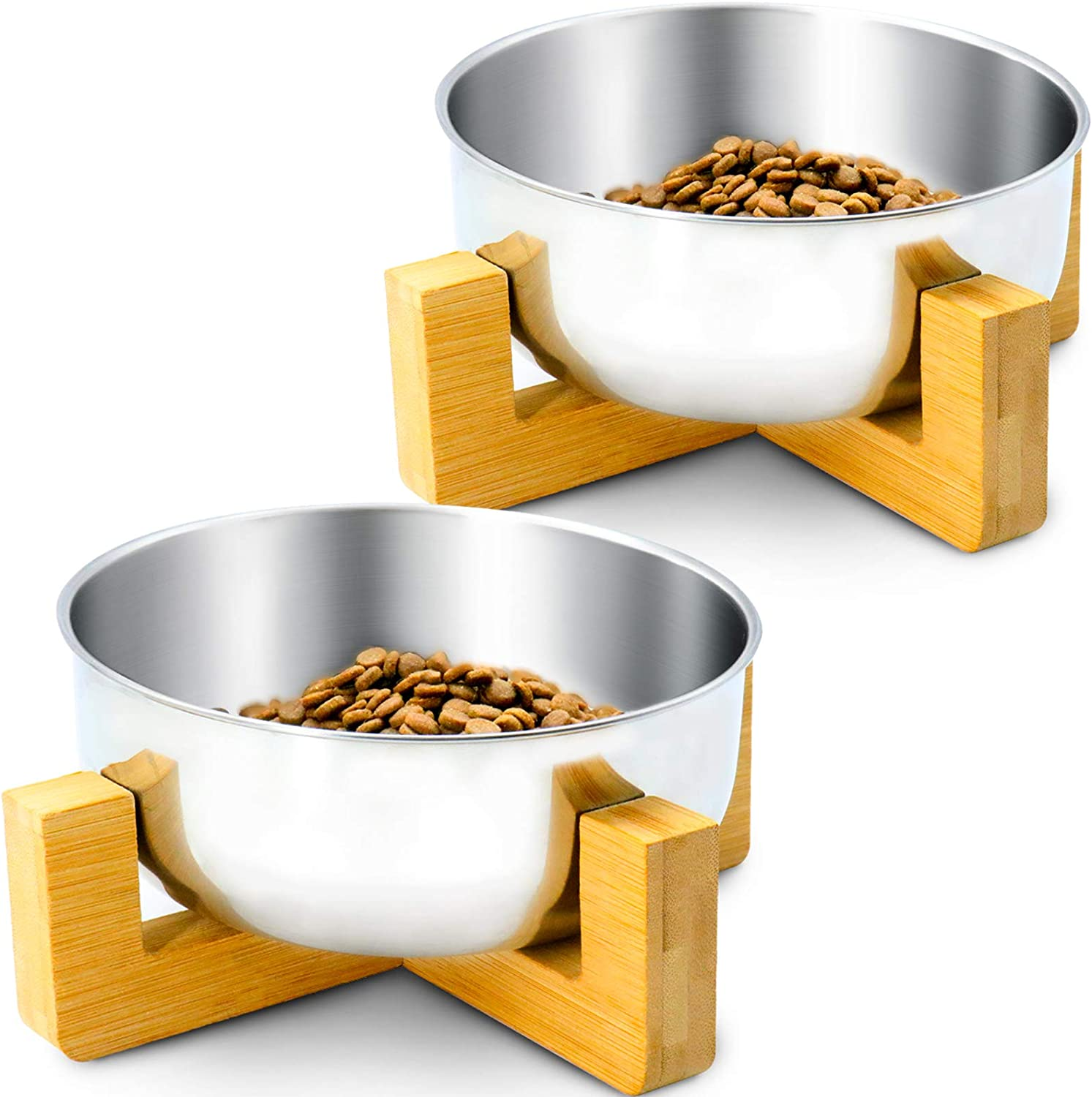 Three Capreolus 2 Pack Stainless Steel Dog Bowl Cat Food and Water Feeding Bowls Pet Bowls for Medium Small Dogs Cats with Stand Wood