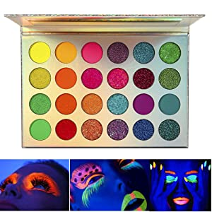 Neon Eyeshadow Glow in the Dark, DE'LANCI Aurora Glow Eyeshadow Palette Stage, Halloween Makeup Kit UV Glow Blacklight Matte and Glitter Fluorescent Eye Shadows Pigment Luminous