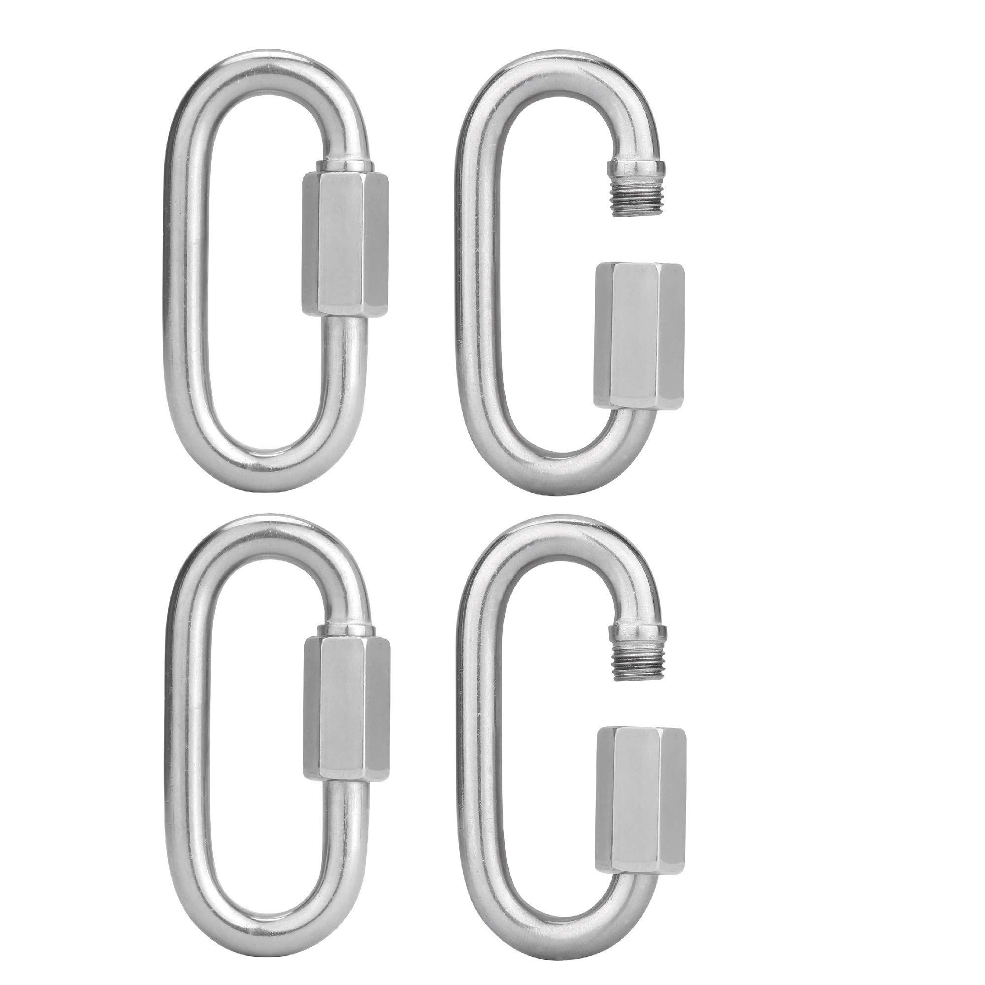 Anndason 4 Pcs M8/0.32'' 304 Stainless Steel D Shape Quick Link C1arabiner Lock Ring 691KG 1523LB