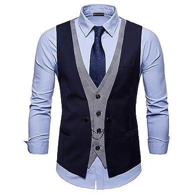 YCUEUST Chaleco Hombre de Vestir Traje Boda Ceremonia Waistcoat Blazers Sin Mangas