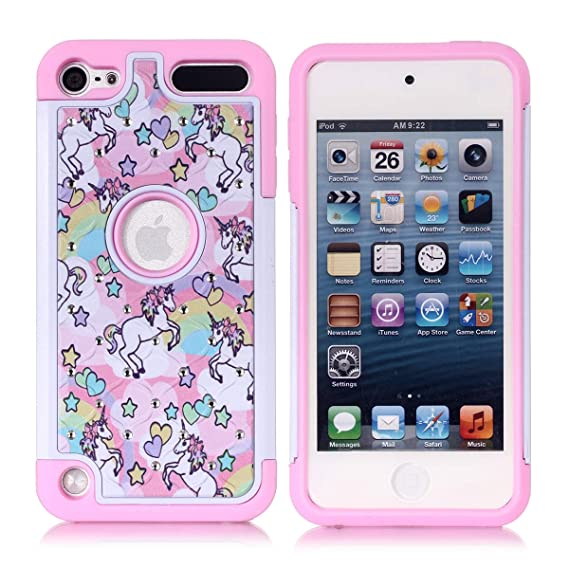 premium selection 26928 279a9 Apple iPod Touch 5,6th Case, iPod 7th Generation Case, Rainbow Unicorn  Pattern Shockproof Studded Rhinestone Crystal Bling Hybrid Case Silicone ...