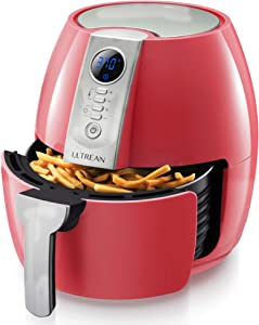 Ultrean Air Fryer, 4.2 Quart (4 Liter) Electric Hot Air Fryers Oven Oilless Cooker with LCD Digital Screen and Nonstick Frying Pot, UL Certified, 1-Year Warranty, 1500W (Red)