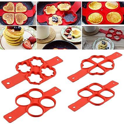4-pcak silicona perfecto tortitas molde antiadherente Huevo Anillo eléctrica desayuno Pancake molde para huevos
