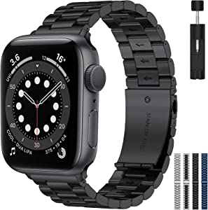 RARF Metal Band Compatible with Apple Watch 38mm 40mm 42mm 44mm for Women Men, Replacement Stainless Steel Strap Wristband Bracelet Compatible with iWatch Series SE/6/5/4/3/2/1(Black, 42/44mm)