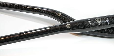 BLACKBIKE Manillar de Fibra de Carbono Super Black Super Ligero ...