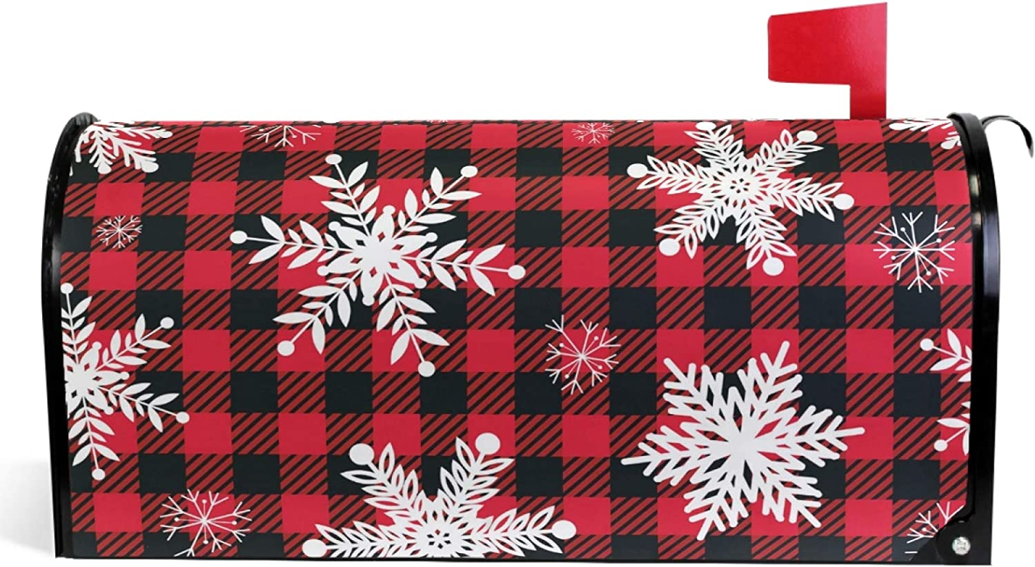 "Vdsrup Buffalo Plaid Snowflakes Mailbox Covers Magnetic Winter Christmas Mailbox Cover Red Check Mailbox Wraps Post Letter Box Cover Garden Decoratives Standard Size 18"" X 21"""