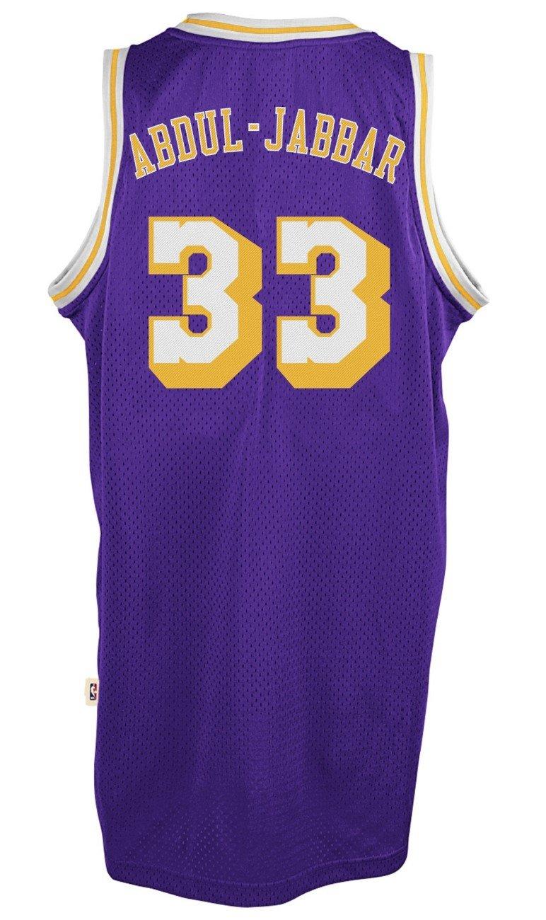 4e2bbbb6494 adidas Kareem Abdul Jabbar Los Angeles Lakers Throwback Swingman Jersey -  Purple: Amazon.co.uk: Sports & Outdoors