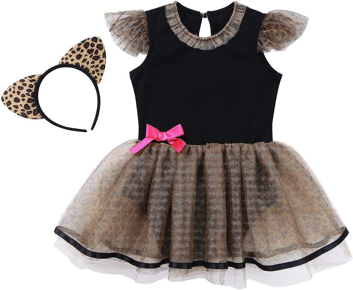 Freebily Baby M/ädchen Kleid niedliche Katze Kost/üm Strampler Kleid mit Tutu Rock Stirnband Kleinkind Karneval Geburtstag Party Kleid Verkleidung