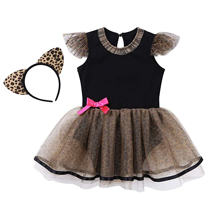 ranrann Vestido de Leopardo Bebé Niña Vestido de Princesa Infantil Manga con Volantes Disfraz de Gato para Fiesta Carnaval Monos con Tutú Falda + ...