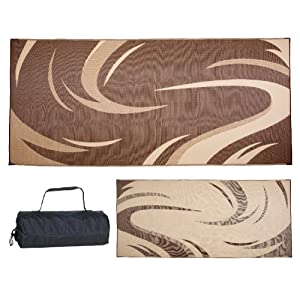 Stylish Camping Brown/Tan 8'x 18' Ming'S Mark SD8187 Mat Graphic Swish 8 X 18