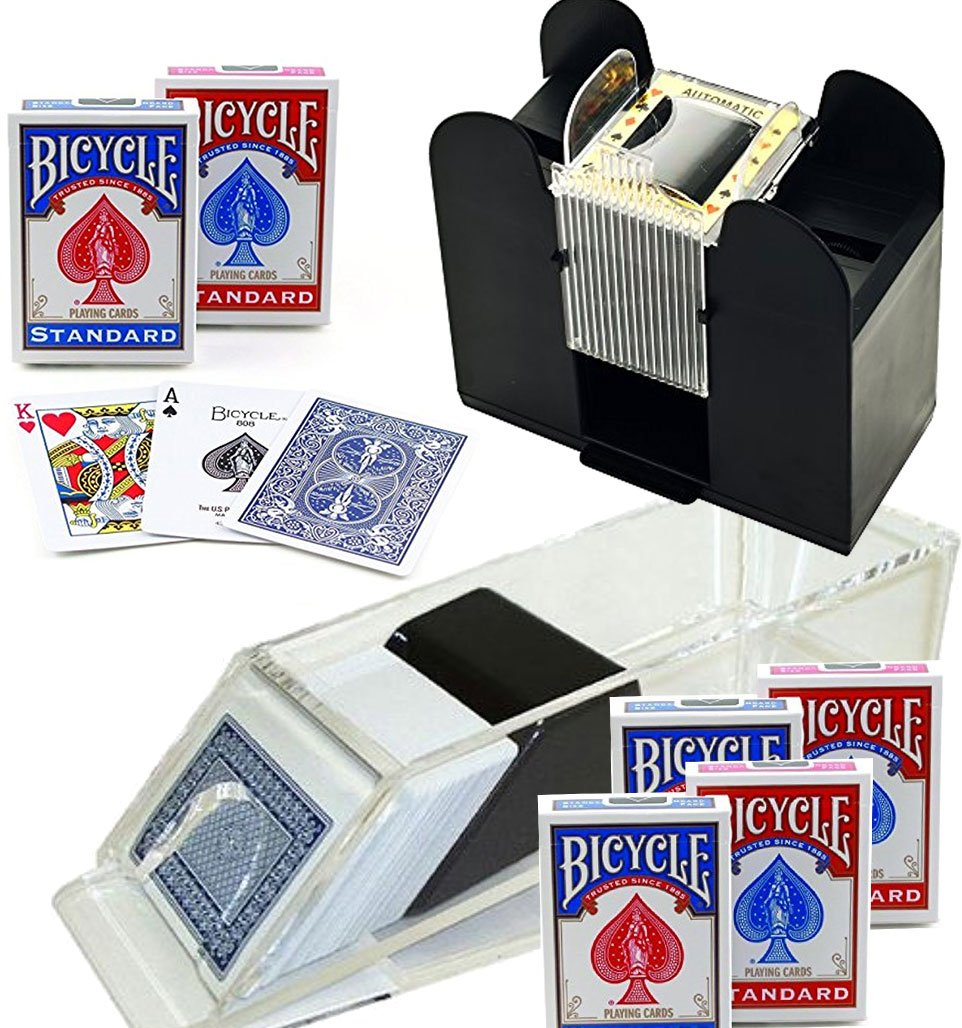 Bundle Includes 8 Items - Trademark Poker Blackjack Dealing Shoe 6-Deck and Casino 6-Deck Automatic Card Shuffler and 6 Decks of Bicycle Poker Size Standard Index Playing Cards
