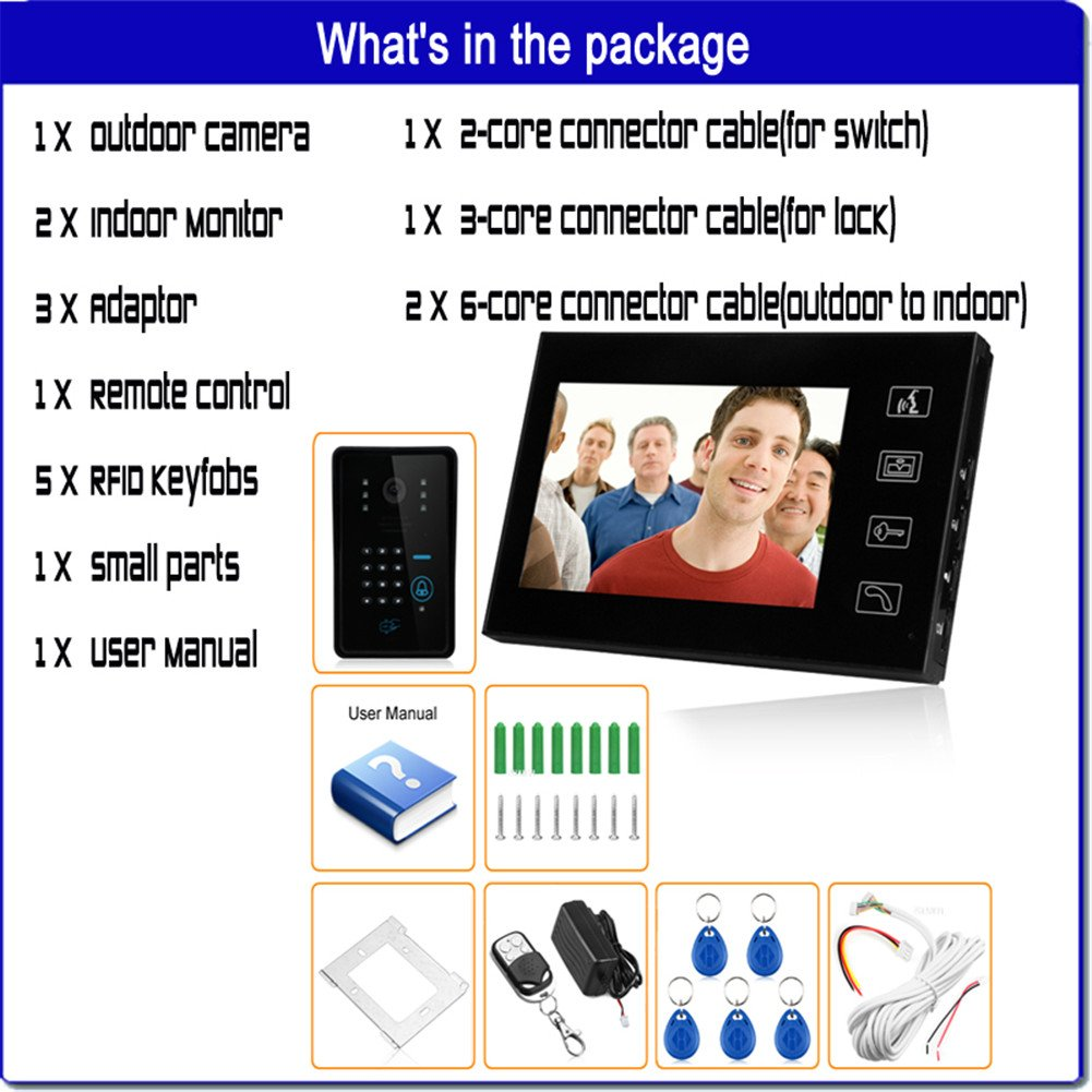 Ennio 7'' LCD Video Door Phone Bells Intercom Keyfobs Ir Camera Code Keypad Remote+switch + Electric Strike Lock 1v2