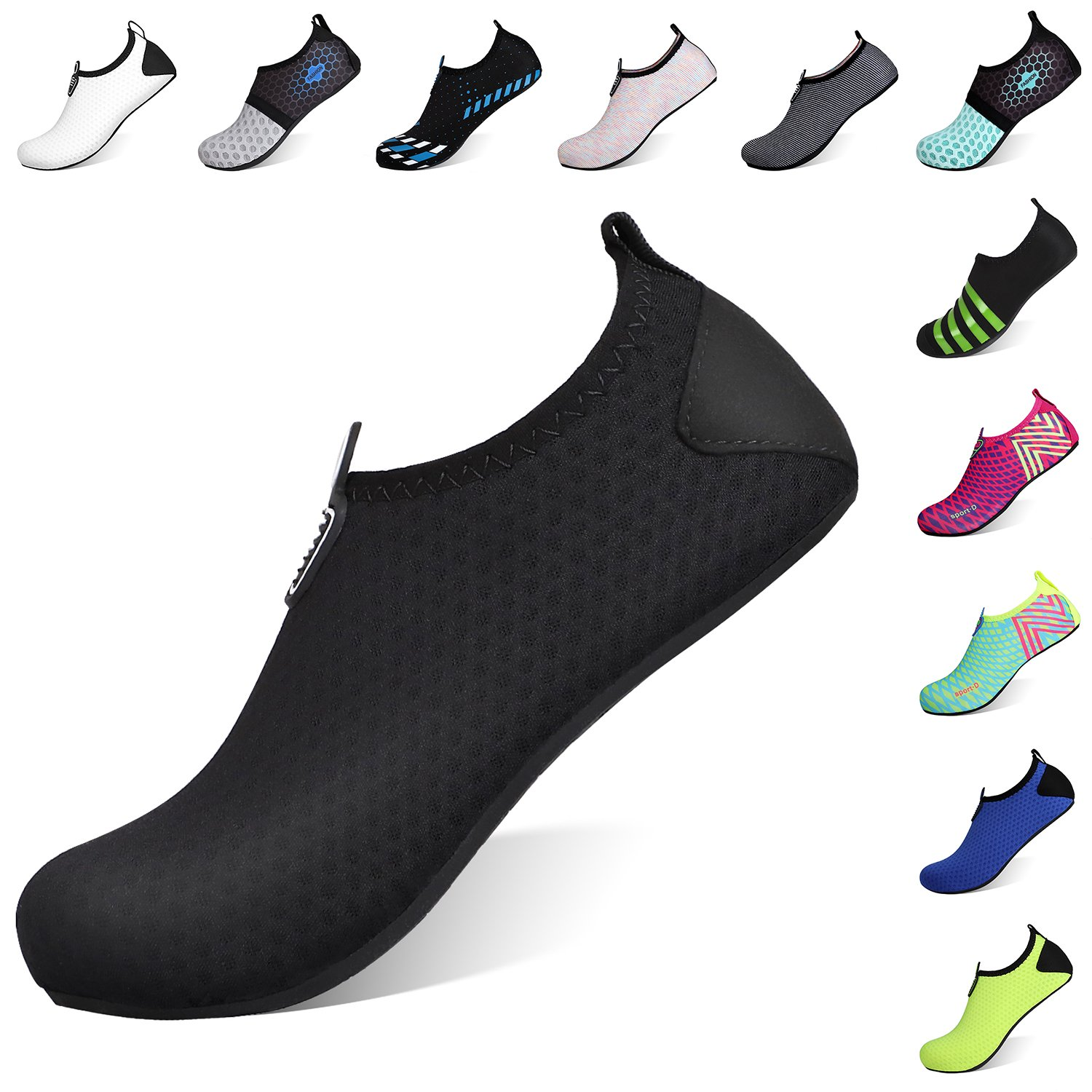Heeta Barefoot Water Sports Shoes for Women Men Quick Dry Aqua Socks for Beach Pool Swim Yoga Dot_Black XXL