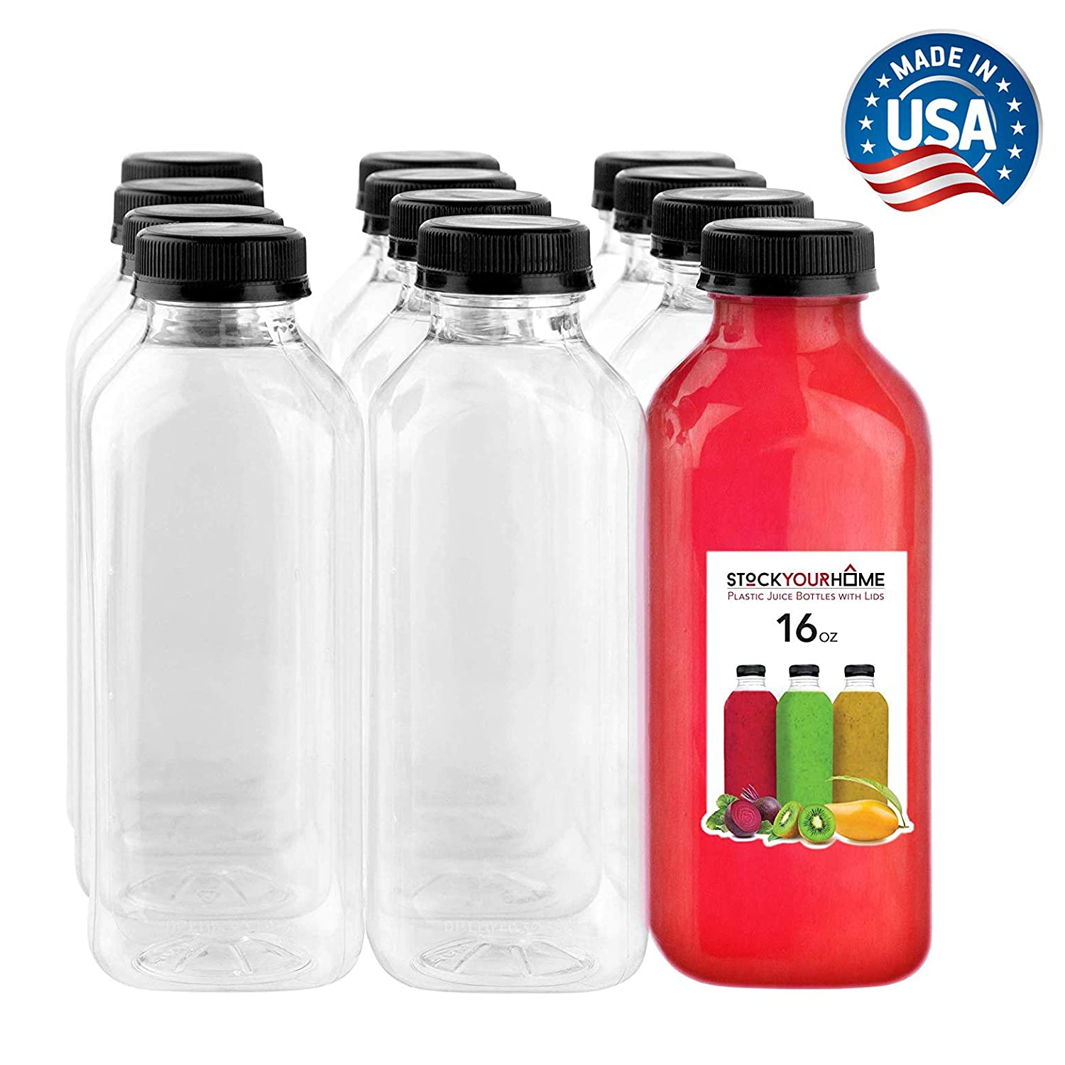 Plastic Juice Bottles with Lids, Juice Drink Containers with Caps for Juicing Smoothie Drinking Cold Beverages, 16 Oz, 12 Count