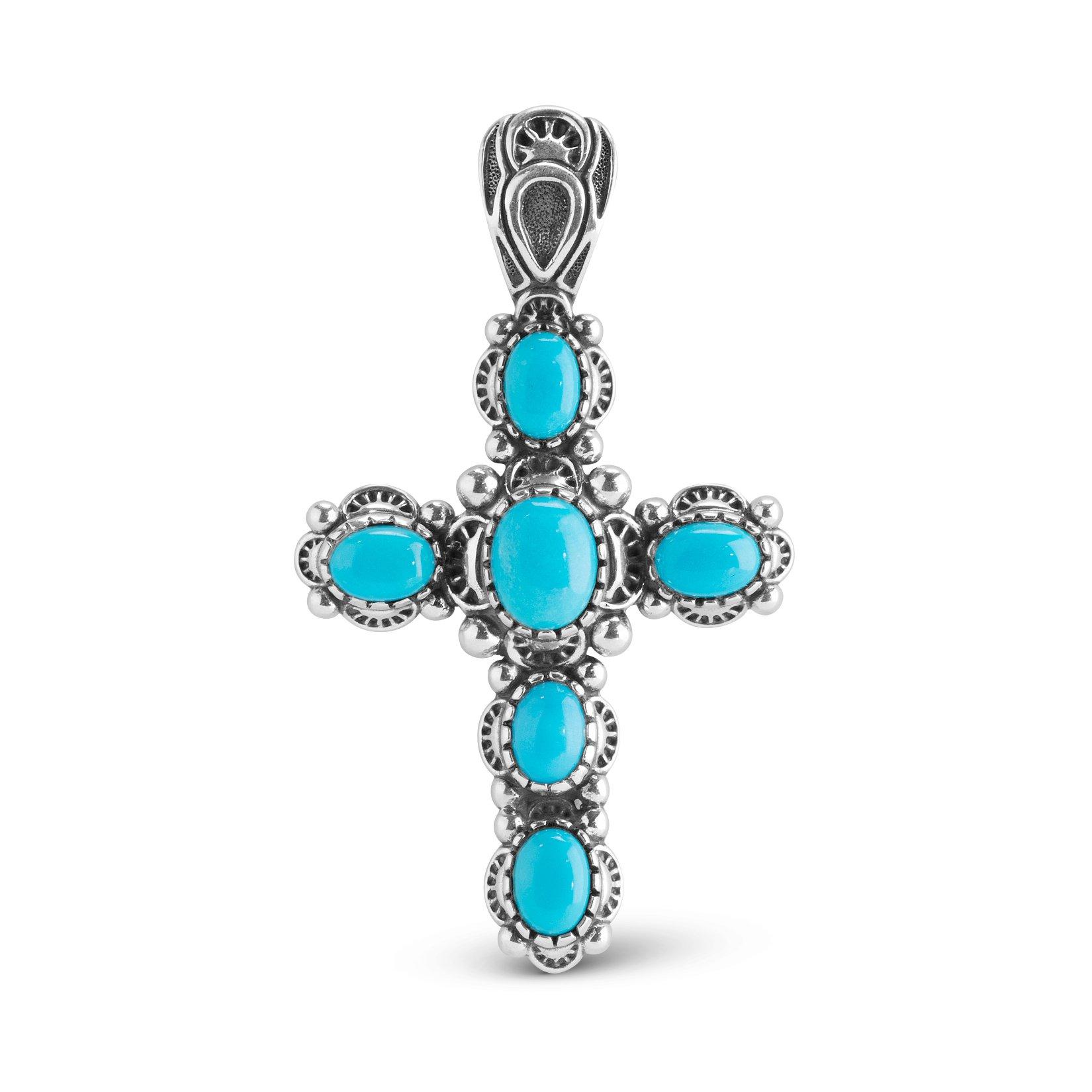Sterling Silver Sleeping Beauty Turquoise Cross Pendant Enhancer