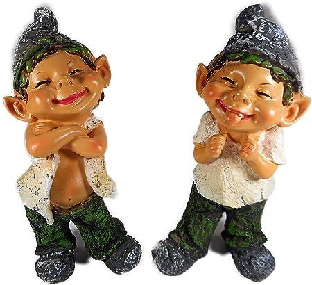 Unbekannt Gik 8401 B - Juego de 2 Figuras Decorativas para jardín (20 x 9 cm), diseño de gnomo: Amazon.es: Hogar
