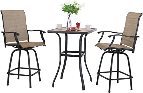 Sophia William Patio Bar Stool Set of 3, Outdoor 2 Textilene Swivel Bar Chair with 1 Bar Table for Bistro Lawn All Weather Furniture Set, Brown