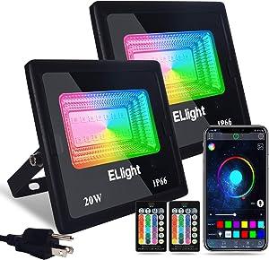 ELlight LED Flood Lights Outdoor 2 Pack 20W Color Changing Smart Bluetooth RGB Floodlight APP Control, IP66 Waterproof Timing 2700K-6500K, Perfect for Garden Landscape Stage Lighting