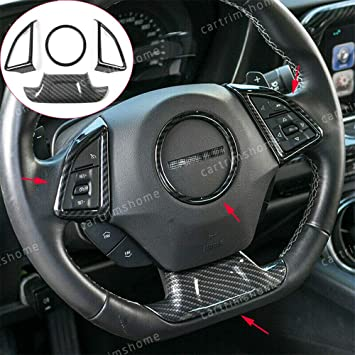 with Hole Steering Wheel Trim,Carbon Fiber Steering Wheel Cover Fit for Chevrolet Camaro ZL1 2017-2019