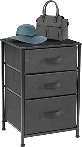 Sorbus Nightstand with 3 Drawers – Bedside Furniture Accent End Table Chest for Home, Bedroom Accessories, Office, College Dorm, Steel Frame, Wood Top, Easy Pull Fabric Bins Black Charcoal