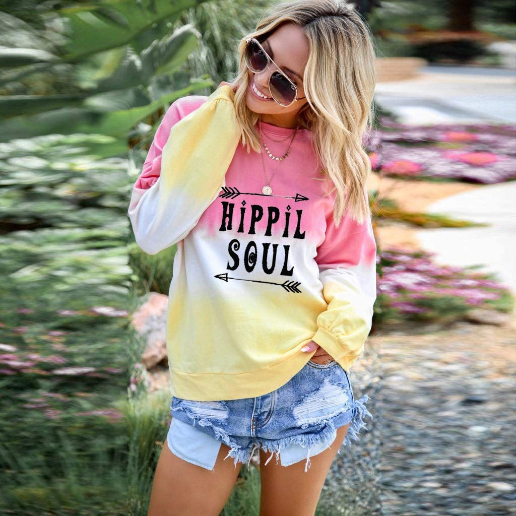 Hippie Soul Letter Tie Dye Pullover Crewneck Long Sleeve Women Teen Girls Outfit SamojoyHUE Gradient Color Sweatshirt
