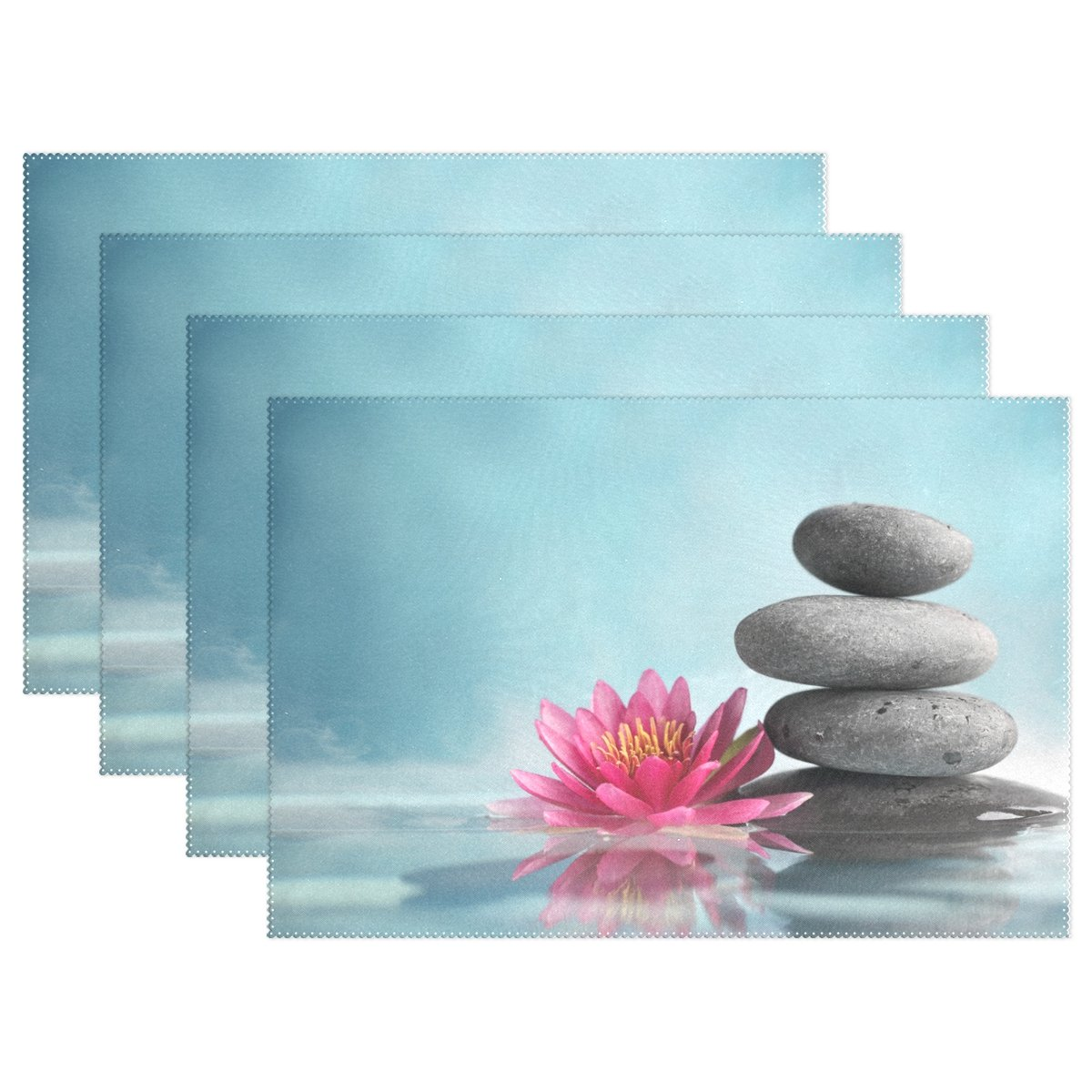 WellLee Spa Life Water Lily Zen Placemat Set of 4 Polyester Plate Holder,Lotus Flower Table Mats for Kitchen Dining Room,12x18 Inch