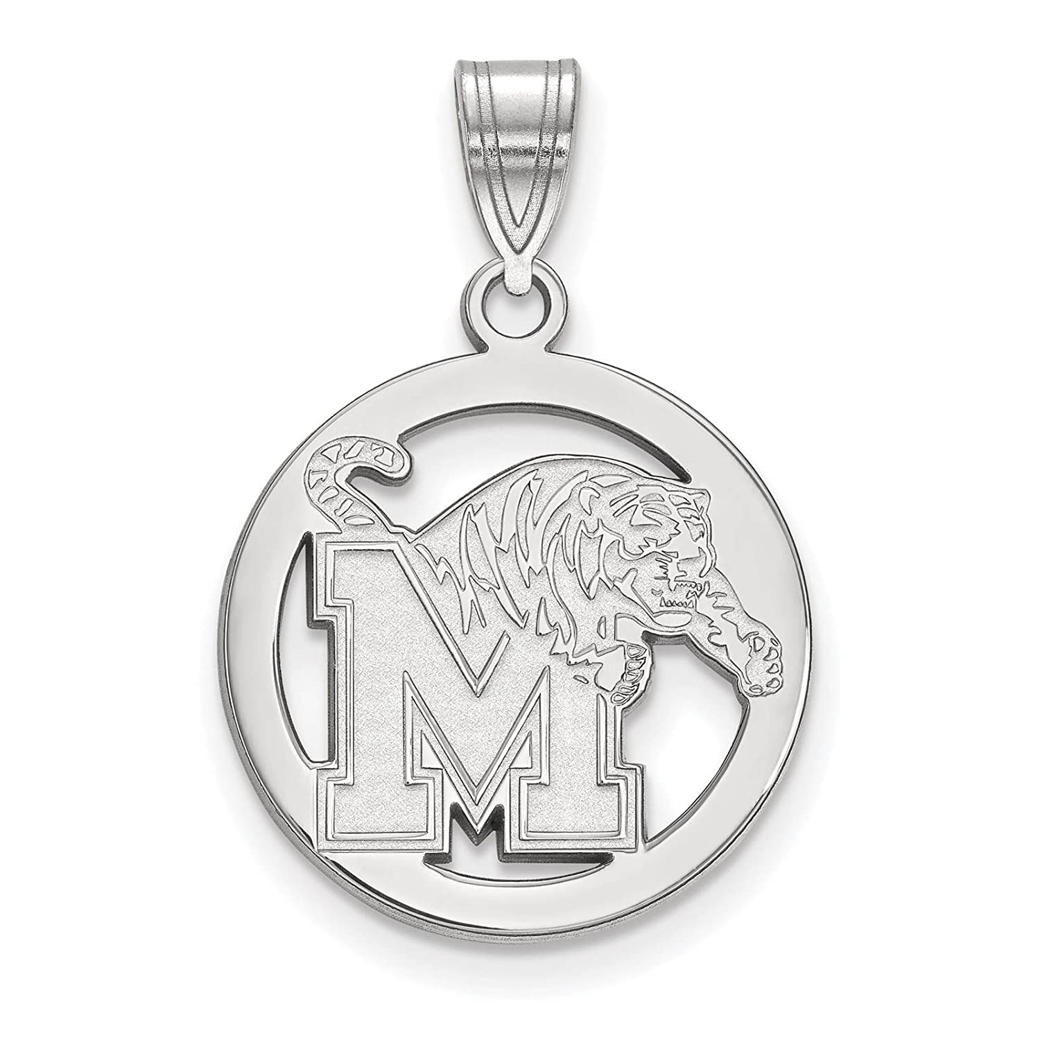 925 Sterling Silver Rhodium-plated Laser-cut University of Memphis Small Circle Pendant