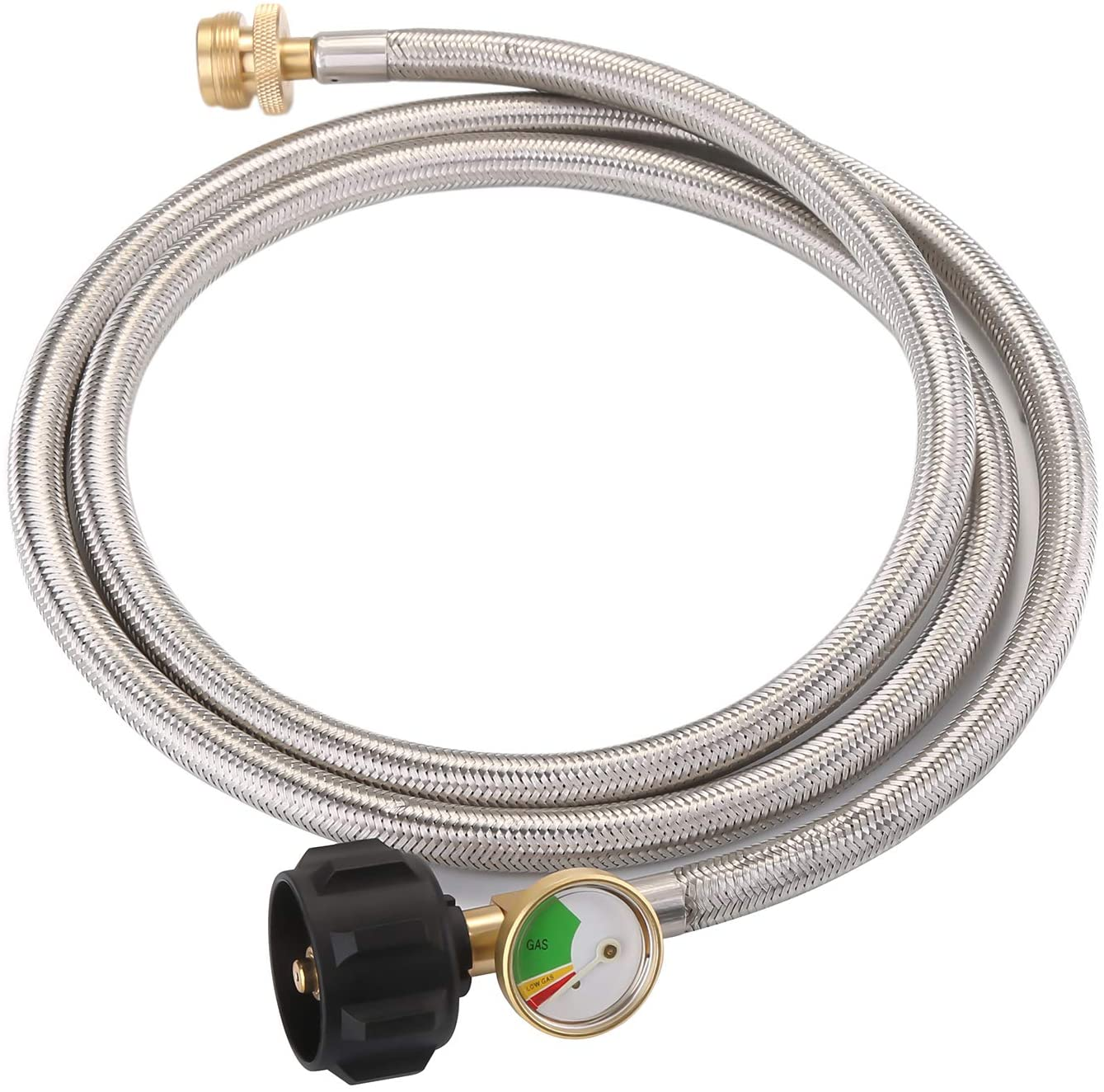 WADEO 6 FT Stainless Steel Braided Propane Adapter Hose with Propane Tank Gauge, 1 lb to 20 lb Converter for QCC1 / Type1 LP Tank to 1 LB Propane Stove, Tabletop Grill and More 1lb Portable Appliance