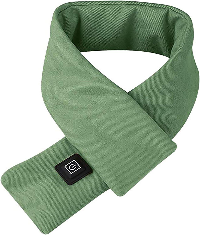Almohadilla de calentamiento de la bufanda climatizada eléctrica del cuello con calefacción eléctrica para el cuello para los hombres y las mujeres que se calienta el alivio frío al aire libre,Verde