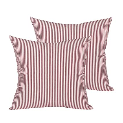 Awe Inspiring Shamrockers Farmhouse Striped Throw Pillow Cover Decorative Cotton Linen Ticking Stripe Cushion Pillowcase 18X18 Wine Red Pack Of 2 Gmtry Best Dining Table And Chair Ideas Images Gmtryco