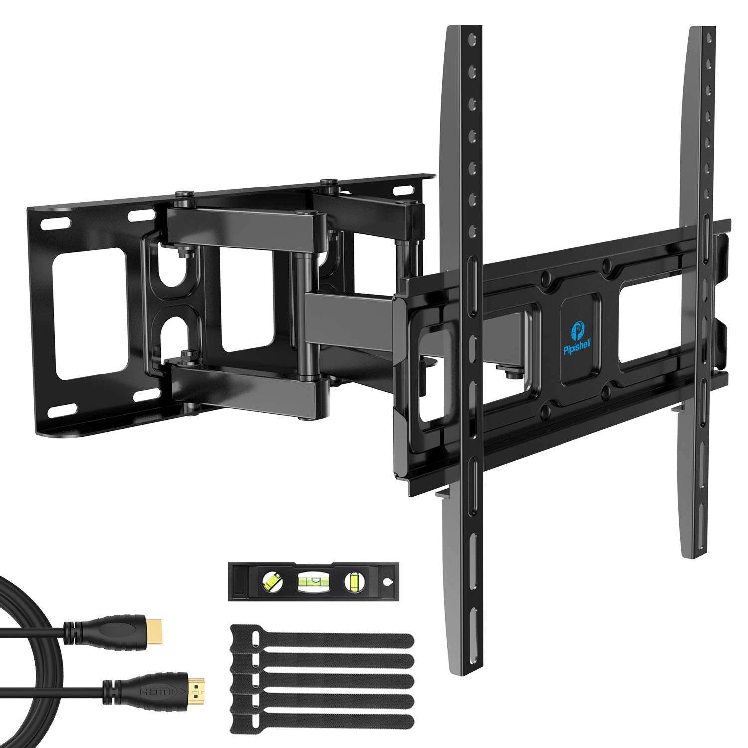 TV Wall Mount Bracket Full Motion Dual Swivel Articulating Arms Extension Tilt Rotation, Fits Most 26-55 Inch LED, LCD, OLED Flat&Curved TVs, Max VESA 400x400mm and Holds up to 99lbs by Pipishell by Pipishell