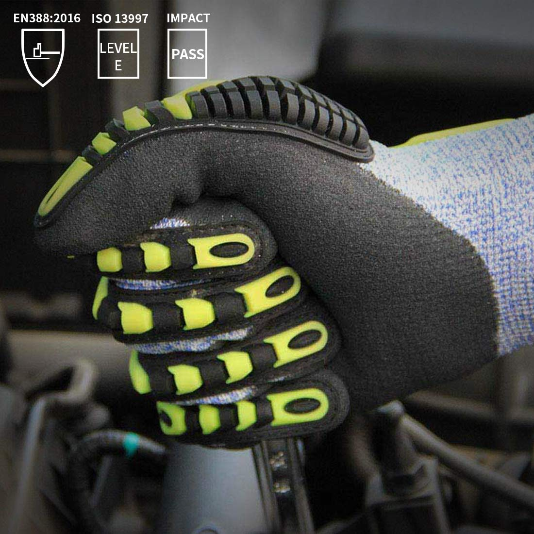 Impact Reducing Safety Gloves, Vibration & Abrasion & Cut Resistant, Ideal for Heavy Duty Safety Work like Mechanic, Garden Construction, Car Repairing Industrial, 1 Pair by KARRISM 5