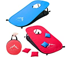 Himal Collapsible Portable Cornhole Game Boards 10 Cornhole Bean Bags Cornhole Set Tic Tac Toe Game 2 Games on 1 Board (2 x 1