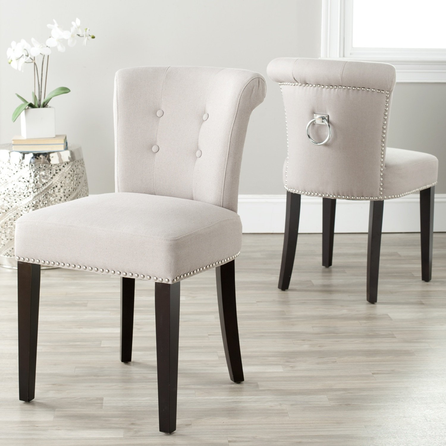 Amazon.com   Safavieh Mercer Collection Carol Taupe Linen Ring Dining Chair  (Set Of 2)   Chairs