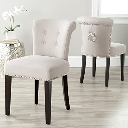 Safavieh Mercer Collection Carol Taupe Linen Ring Dining Chair Set Of 2