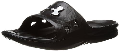 Under Armour Boys Locker III Slide Sandal Black (001) Metallic Silver 1 cb736661a