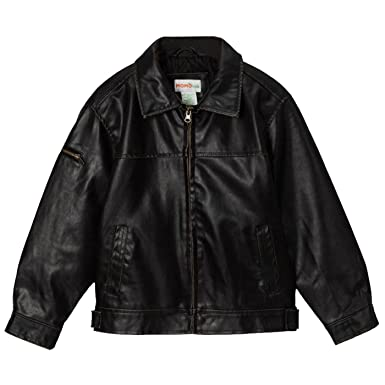 Amazon.com: Momo Grow Big Boys Faux Leather Flight Bomber Jacket ...