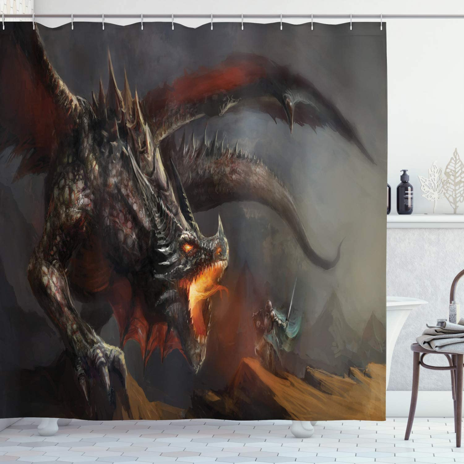 Ambesonne Medieval Shower Curtain, Fantasy Scene Fearless Knight with Dragon Art Antique Fantasy, Cloth Fabric Bathroom Decor Set with Hooks, 75