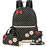 School Bags for Girls Cute Dot 3 Sets Kids Book Bag School Backpack Handbag Purse Lightweight Waterproof Canvas Versatile Backpack (Black)