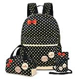 School Backpacks for Kids Girls Cute Dot 3 Sets Kids Book Bag School Backpack Handbag Purse Lightweight Waterproof Canvas Versatile Backpack