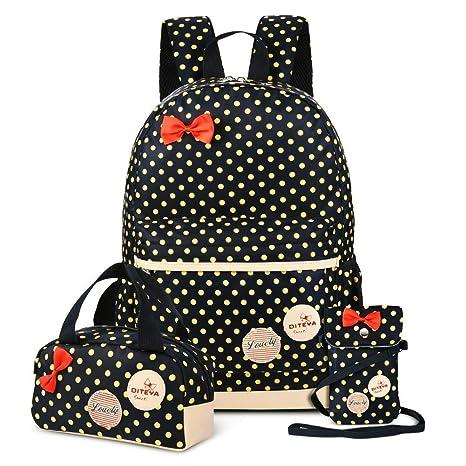 0ec58b89d063 School Bags for Girls Cute Dot 3 Sets Kids Book Bag School Backpack Handbag  Purse Lightweight Waterproof Canvas Versatile Backpack (Black)