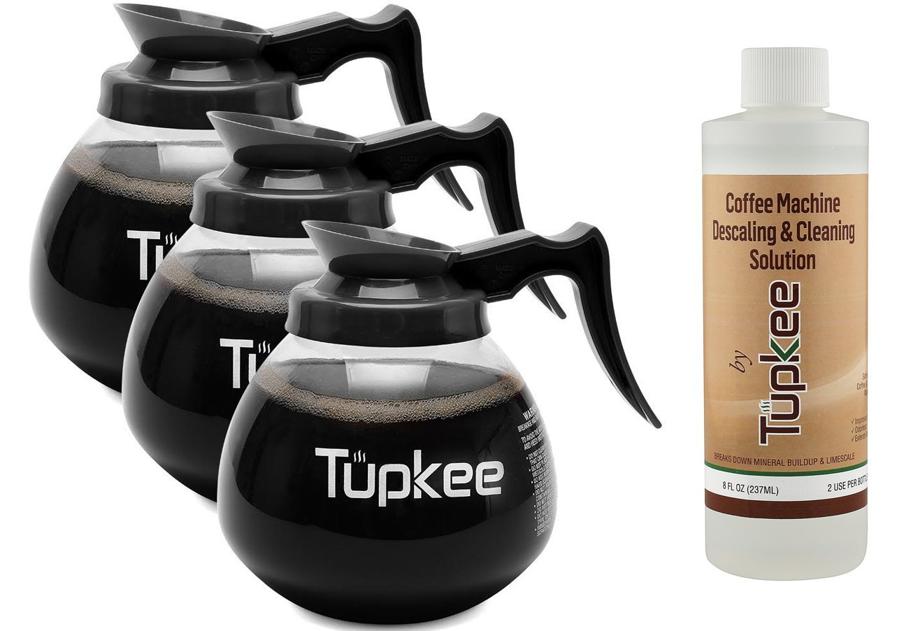 Glass Coffee Pots Decanter Carafe -Glass, 64 oz. 12-Cup, Set of 3 Black Handle + BONUS + Tupkee Coffee Machine Descaler & Cleaning Solution – For Drip Coffee Maker, Espresso and Keurig Coffee Machines