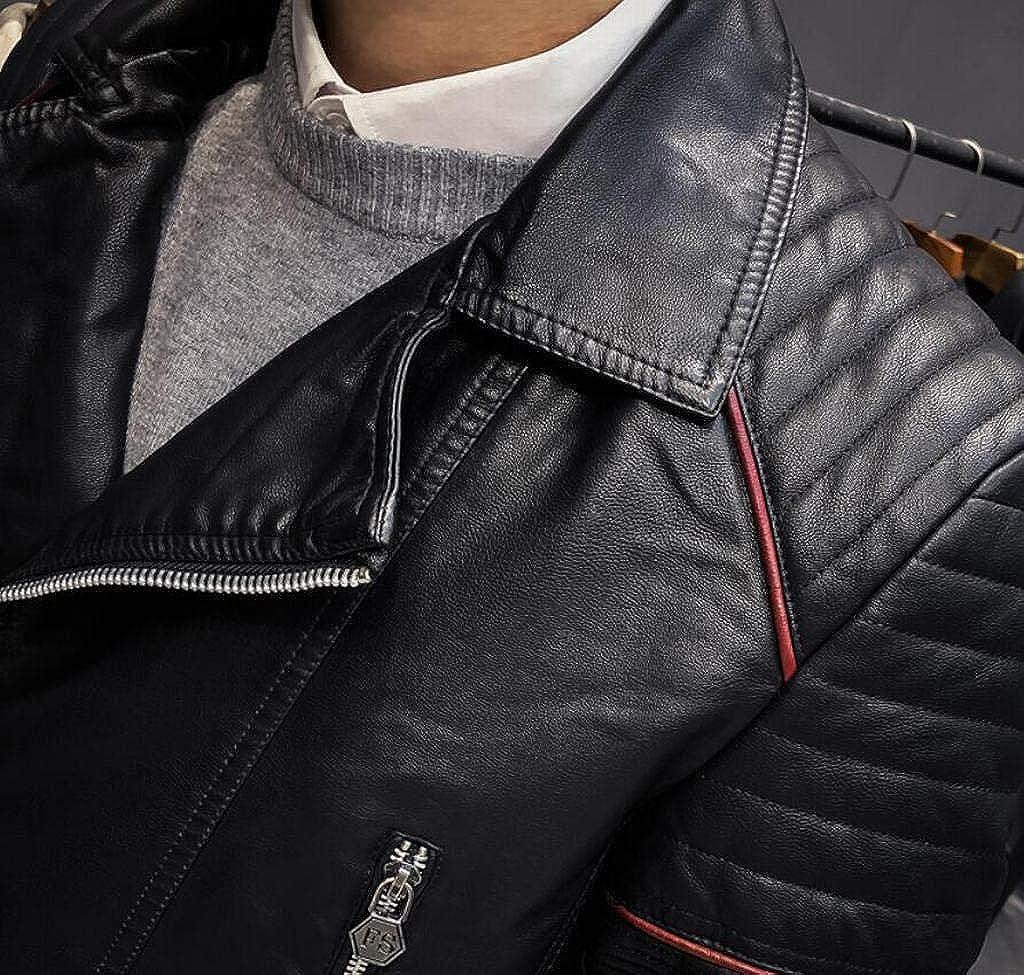 MK988 Mens Winter Moto Lapel Collar Warm Turn Down Collar Ruched Slim Fit Faux-Leather Biker Jacket