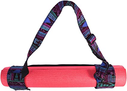 Santa Playa Yoga Mat Adjustable Carry Strap Handcrafted with Back Strap Loomed Native Tribal Textiles And Durable Cotton by